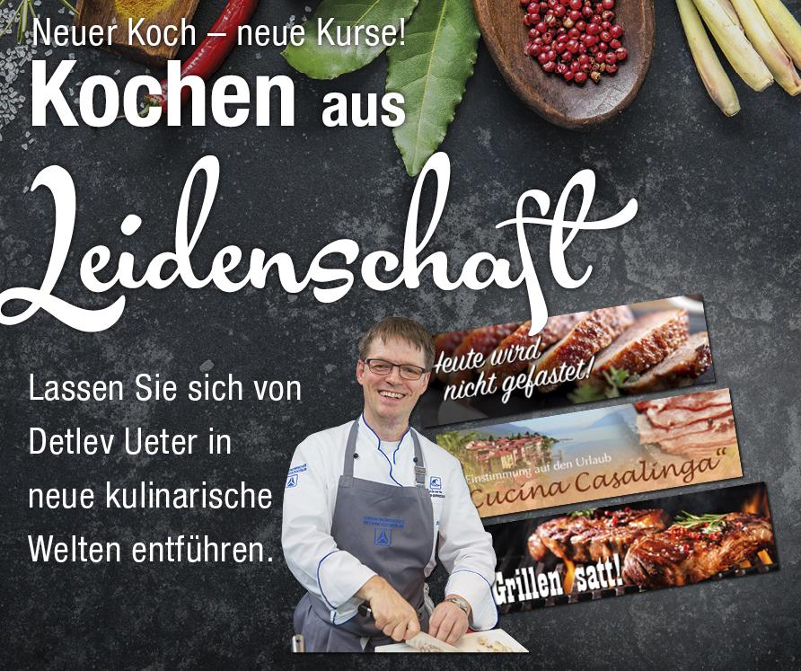 Kochen aus Leidenschaft Flyer Kochkurs Detlev Ueter - grauer Hintergrund, Gewürze