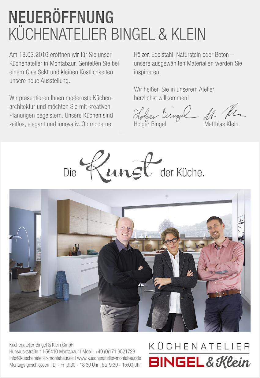 Neueröffnung Küchenatelier Bingel&Klein, Flyer grau weiß, Foto